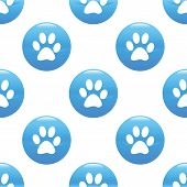 pic of webbed feet white  - Round sign with paw silhouette repeated on white background - JPG