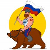 picture of hammer sickle  - Russian riding a bear - JPG