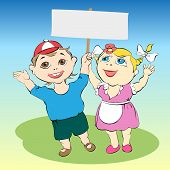 stock photo of debonair  - Cartoon drawing Merry children with their hands up - JPG