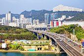 image of hong kong bridge  - view on Hong Kong highway bridge at day - JPG