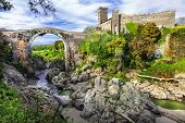 picture of bridge  - impressive ancient bridge and castle Vulci  - JPG