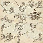 picture of freehand drawing  - FISHING and FISHERS - JPG