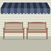 pic of awning  - Empty Wooden Chairs Under Awning Vector Illustration - JPG