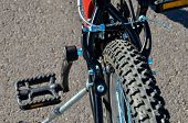 image of suspension  - Close up of Modern Red Full Suspension Mountain Bike MTB Bicycle - JPG