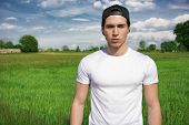 pic of grassland  - Handsome fit young man at countryside - JPG