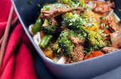 picture of stir fry  - oranger beef stir fry with udon noodles - JPG