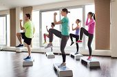 foto of step aerobics  - fitness - JPG