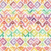 stock photo of bohemian  - Seamless Hand Drawn Watercolor Ethnic Tribal Ornamental Pattern - JPG