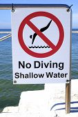 stock photo of sky diving  - A sign indicating that there is to be no diving in the shallow water - JPG
