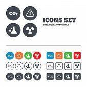 foto of carbon-dioxide  - Attention and radiation icons - JPG
