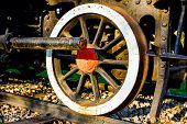 stock photo of time machine  - Steam locomotive is exposed in city park detail of ancient time - JPG