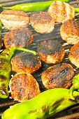 pic of meatball  - Fresh grilled meatballs and peppers closeup view
