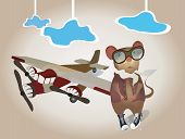 stock photo of propeller plane  - Cartoon Pilot Mouse in uniform with Plane - JPG