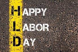 picture of labor  - Acronym HLD as HAPPY LABOR DAY. Yellow paint line on the road against asphalt background. Conceptual image - JPG