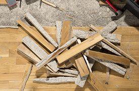 image of leak  - Wooden floor ruined from moisture and water leak - JPG