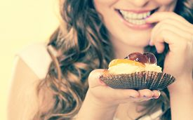 picture of finger-licking  - Sweetness and happiness concept - JPG