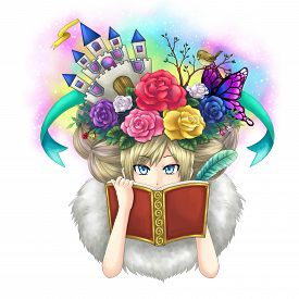 foto of nightingale  - Illustration of a girl writing fantasy novel book while her imagination growing on her head or maybe she is a goddess writing her own world - JPG