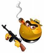 foto of tommy-gun  - Emoticon design of a gangster holding his gun - JPG