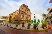 Постер, плакат: Panama Panama April 16 2015: Street View Of The Recentry Restaurated Historic Quarter Of Panama