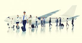 picture of cabin crew  - Business People Cabin Crew Transportation Airplane Concept - JPG