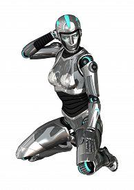 pic of cyborg  - 3D digital render of a female cyborg isolated on white background - JPG
