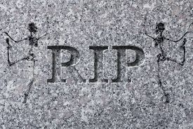 pic of headstones  - Engraved headstone spelling the letters RIP with Skeletons  - JPG