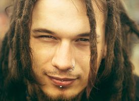 picture of dreadlock  - Closeup portrait of a young caucasian man with dreadlocks - JPG