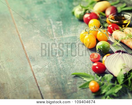 Vegetables on wood. Bio Healthy food, herbs and spices. Organic vegetables on wood. Cooking, Healthy