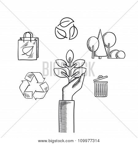 Environment ecology and save nature sketch icons poster