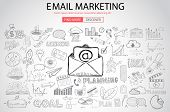Email Marketing with Doodle design style :sending visual emails, promotions, creative designs. Moder poster