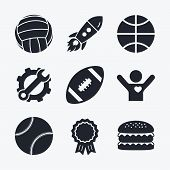 Постер, плакат: Sport balls Volleyball Basketball Baseball