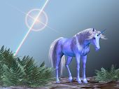 pic of bucking bronco  - A white unicorn rests under a bright star - JPG