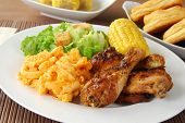 stock photo of fried chicken  - Fried chicken with macaroni and cheese and salad