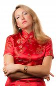 Woman In Red Cheongsam With Arrogant Face Expression