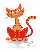 pic of tabby cat  - vector illustration of red tabby cat over white background - JPG
