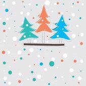 tarjeta de Navidad con el árbol. Ilustración de Vector