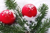 Red christmas tree balls and snow
