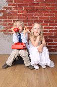 Little Boy Talking On  Phone,  Girl Is Bored. Relationship. Series