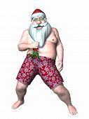 Santa Holding Mistletoe