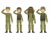 Постер, плакат: Cartoon Army People