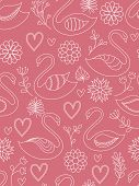 Pink seamless pattern with swans. Vector illustration.