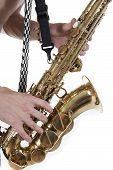 Shirtless Jazzman Plays A Saxophone