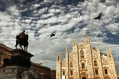 Monument to King Victor Emmanuel II in Cathedral Square or Piazza del Duomo in Italian in Milan in I poster