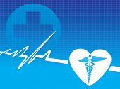 picture of medical chart  - caduceus medical symbol with pulse vector illustration - JPG