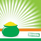 st. patricks day pot of gold with flag background
