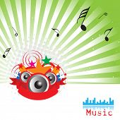vector illustration of musical notes with speakers abstract background
