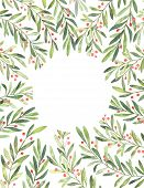 Christmas Illustration. Ready To Use Vertical Card With Watercolor Floral Elements. Perfect For Invi poster