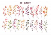 Hand Drawn Watercolor Illustrations. Autumn Botanical Clipart. Set Of Fall Leaves, Herbs And Branche poster