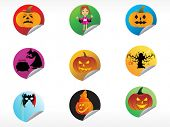 abstract halloween sticker series set