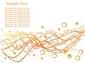 random waves with circles and sample text on white background, wallpaper